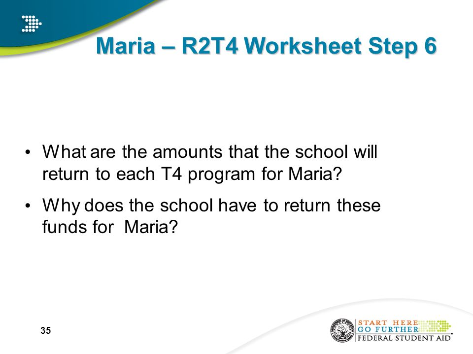 Maria – R2T4 Worksheet Step 6 What are the amounts that the school will return to each T4 program for Maria.