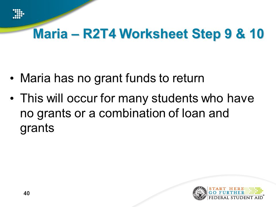 Maria – R2T4 Worksheet Step 9 & 10 Maria has no grant funds to return This will occur for many students who have no grants or a combination of loan and grants 40