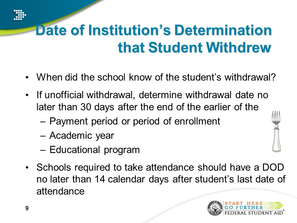 STEP 2: Withdrawal Date – School Not Required to Take Attendance Use the earlier of –date student began school's withdrawal process or date student otherwise provided official notice; or –midpoint in period (if student didn't notify school); or –If student didn't notify due to circumstances beyond student's control, the date related to that circumstance 20