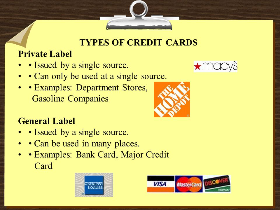 TYPES OF CREDIT CARDS Private Label Issued by a single source.