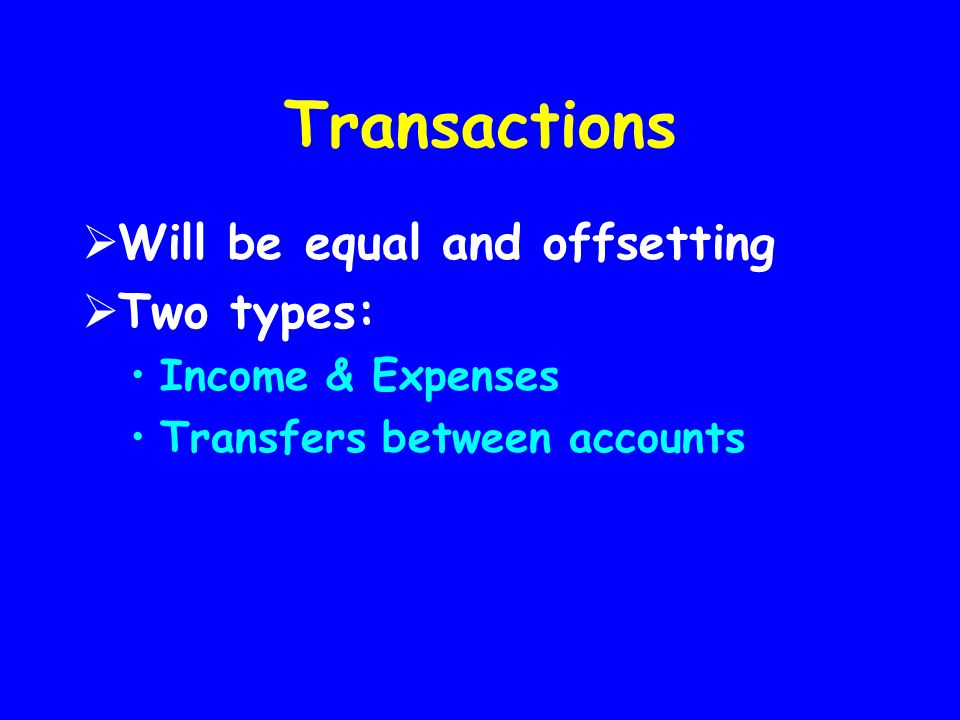Transactions  Will be equal and offsetting  Two types: Income & Expenses Transfers between accounts