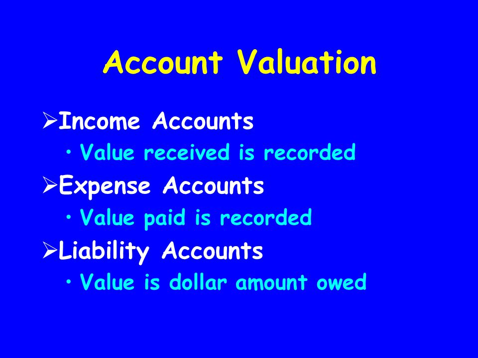 Account Valuation  Income Accounts Value received is recorded  Expense Accounts Value paid is recorded  Liability Accounts Value is dollar amount o