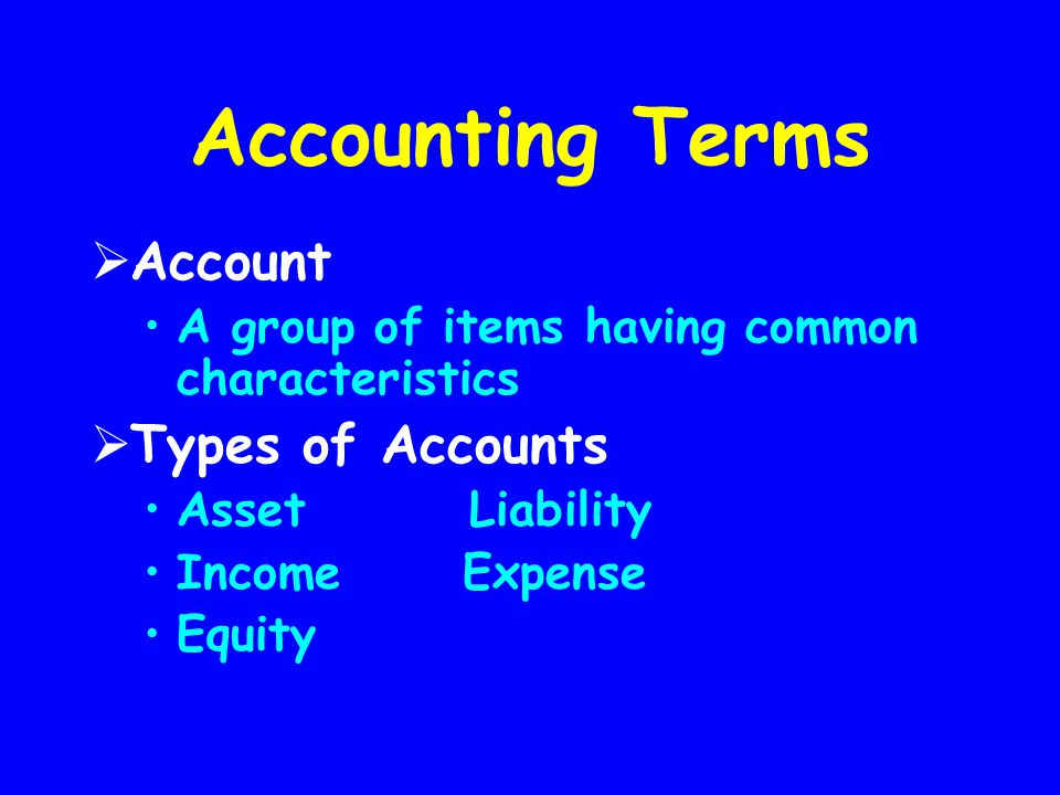 Accounting Terms  Account A group of items having common characteristics  Types of Accounts Asset Liability Income Expense Equity
