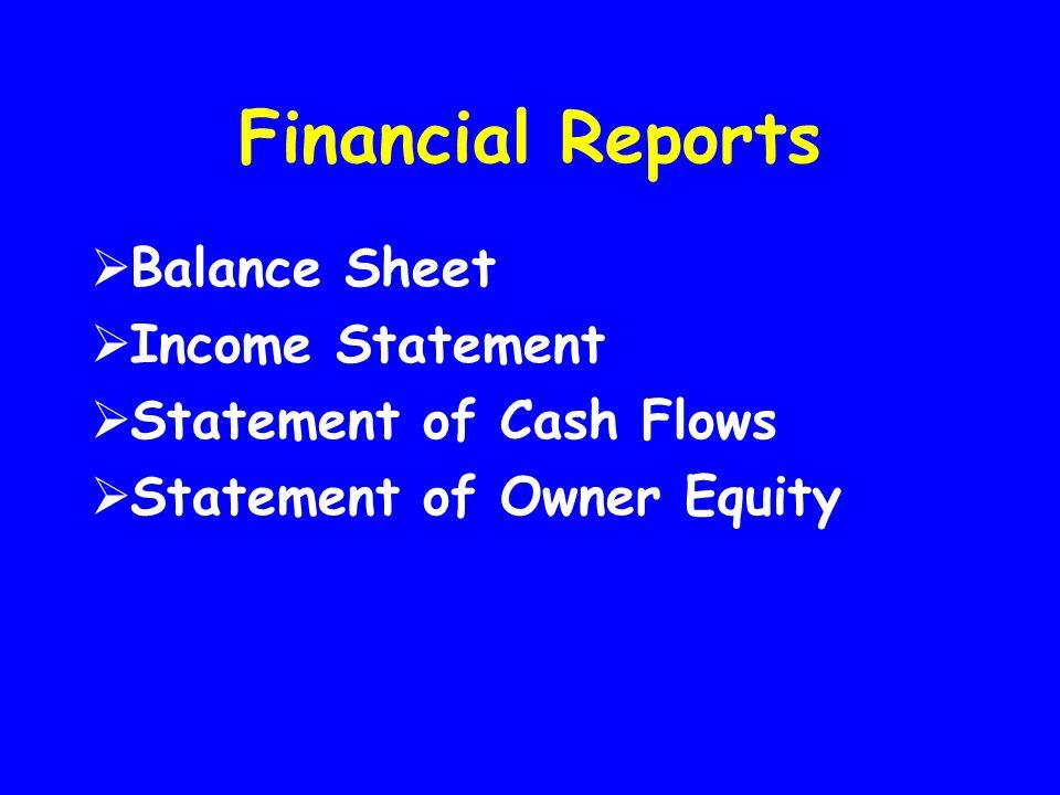 Financial Reports  Balance Sheet  Income Statement  Statement of Cash Flows  Statement of Owner Equity