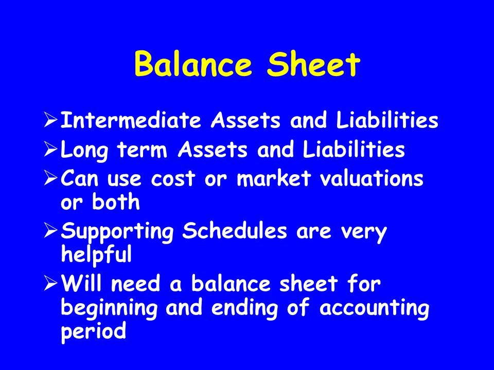 Balance Sheet  Intermediate Assets and Liabilities  Long term Assets and Liabilities  Can use cost or market valuations or both  Supporting Schedu
