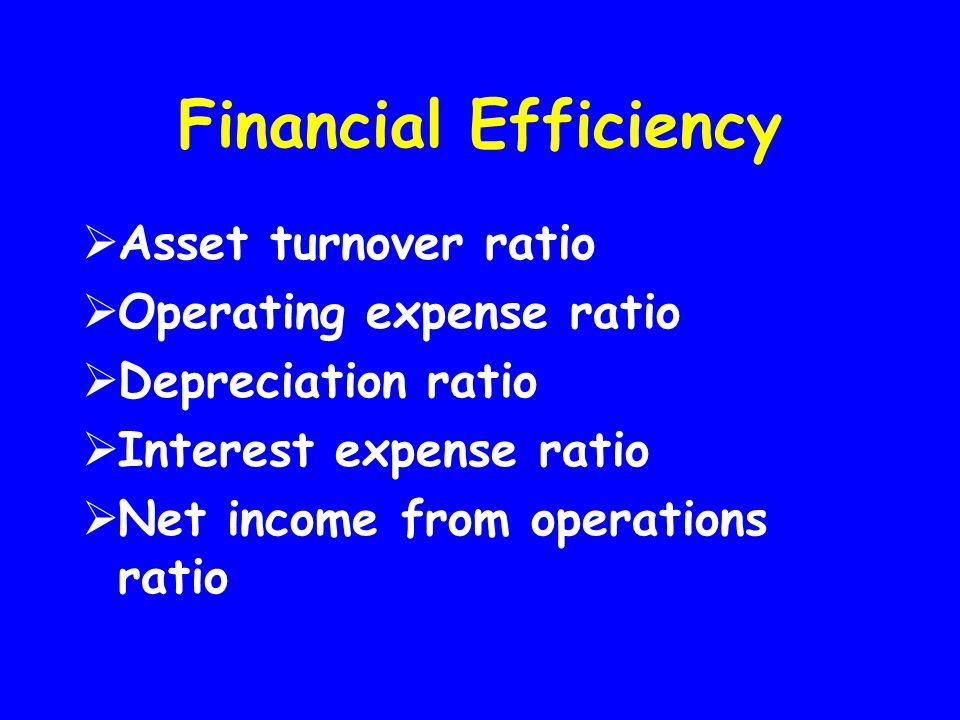 Financial Efficiency  Asset turnover ratio  Operating expense ratio  Depreciation ratio  Interest expense ratio  Net income from operations ratio