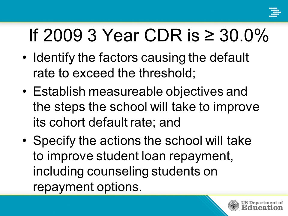 If 2009 3 Year CDR is ≥ 30.0% Identify the factors causing the default rate to exceed the threshold; Establish measureable objectives and the steps the school will take to improve its cohort default rate; and Specify the actions the school will take to improve student loan repayment, including counseling students on repayment options.