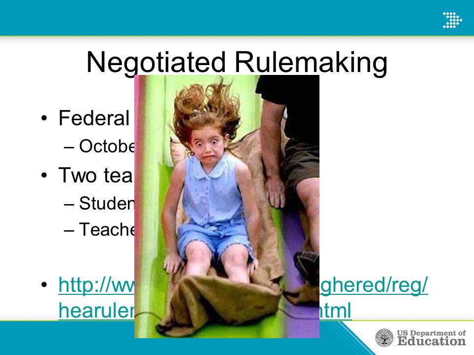 Negotiated Rulemaking Federal Register Notice— –October 28, 2011 Two teams— –Student loan issues –Teacher preparation issues http://www2.ed.gov/policy/highered/reg/ hearulemaking/2011/index.htmlhttp://www2.ed.gov/policy/highered/reg/ hearulemaking/2011/index.html