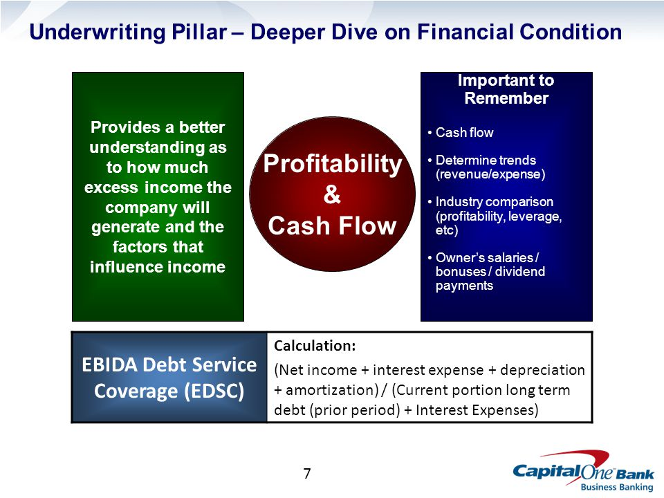 7 Important to Remember Cash flow Determine trends (revenue/expense) Industry comparison (profitability, leverage, etc) Owner's salaries / bonuses / dividend payments Underwriting Pillar – Deeper Dive on Financial Condition Profitability & Cash Flow Provides a better understanding as to how much excess income the company will generate and the factors that influence income EBIDA Debt Service Coverage (EDSC) Calculation: (Net income + interest expense + depreciation + amortization) / (Current portion long term debt (prior period) + Interest Expenses)