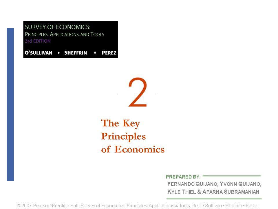 The KeyPrinciplesof Economics F ERNANDO Q UIJANO, Y VONN Q UIJANO, K YLE T HIEL & A PARNA S UBRAMANIAN PREPARED BY: © 2007 Pearson/Prentice Hall, Survey of Economics: Principles, Applications & Tools, 3e, O'Sullivan Sheffrin Perez