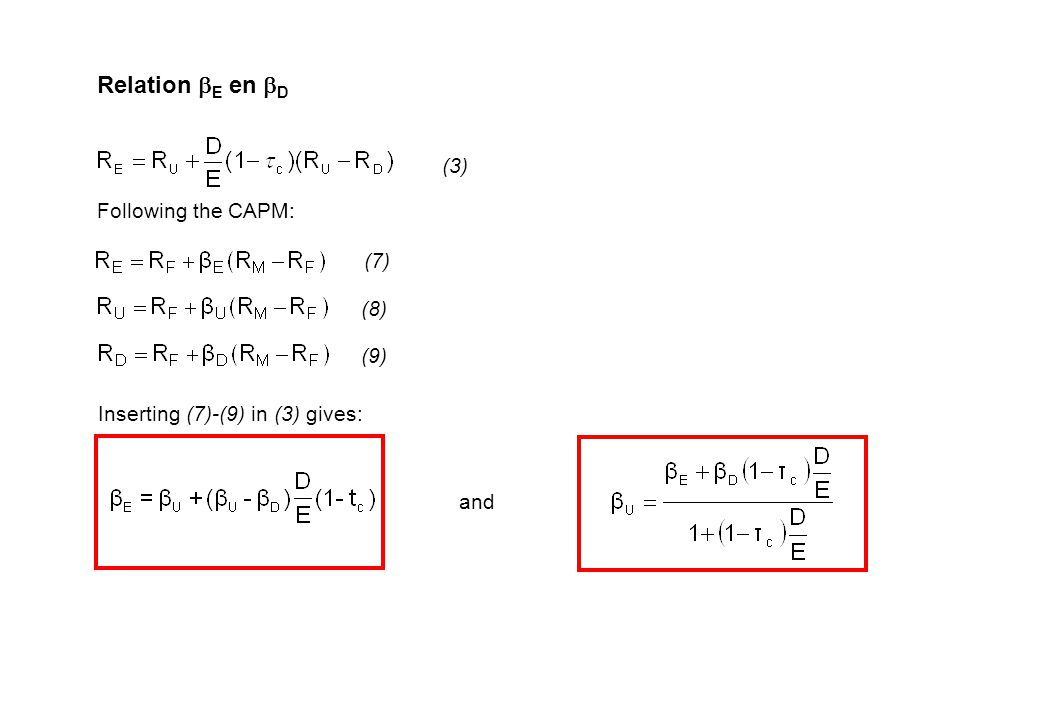 Relation  E en  D Following the CAPM: (3) (7) (8) (9) Inserting (7)-(9) in (3) gives: and