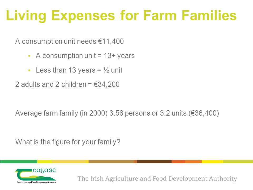 Living Expenses for Farm Families A consumption unit needs €11,400 A consumption unit = 13+ years Less than 13 years = ½ unit 2 adults and 2 children = €34,200 Average farm family (in 2000) 3.56 persons or 3.2 units (€36,400) What is the figure for your family