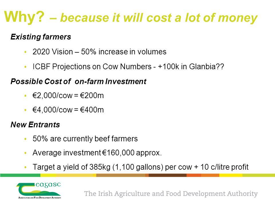 Case study – the profit generated 20062007200820092010 Milk price c/litre 28.638.036.125.433.3 Common Cost €/cow 892781757688788 Common Profit €/cow 6291,215940548981 €/farm ('000's) 30797252102