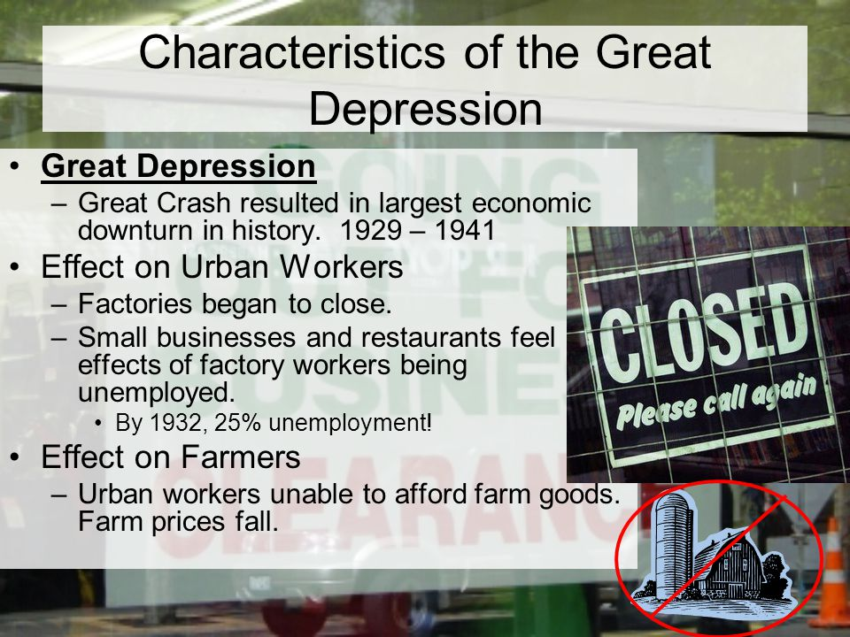 Characteristics of the Great Depression Great Depression –Great Crash resulted in largest economic downturn in history.