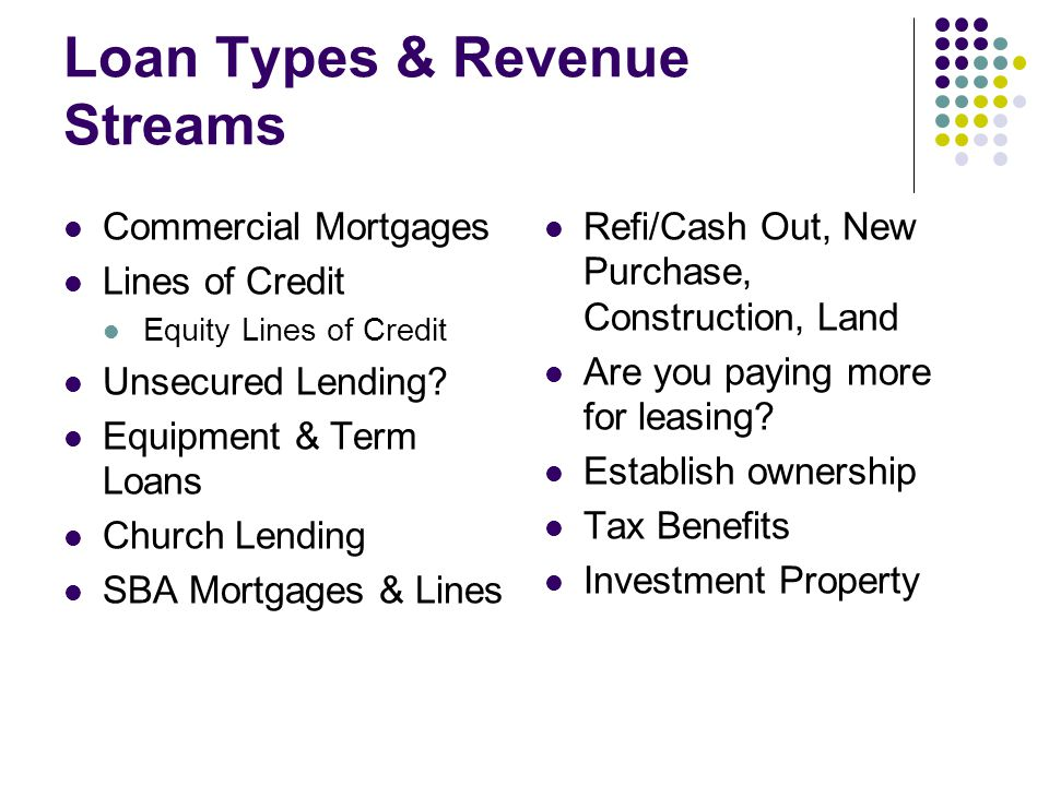 Loan Types & Revenue Streams Commercial Mortgages Lines of Credit Equity Lines of Credit Unsecured Lending.