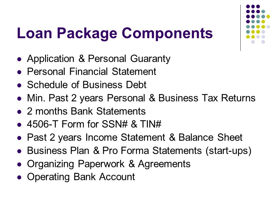 Loan Package Components Application & Personal Guaranty Personal Financial Statement Schedule of Business Debt Min.