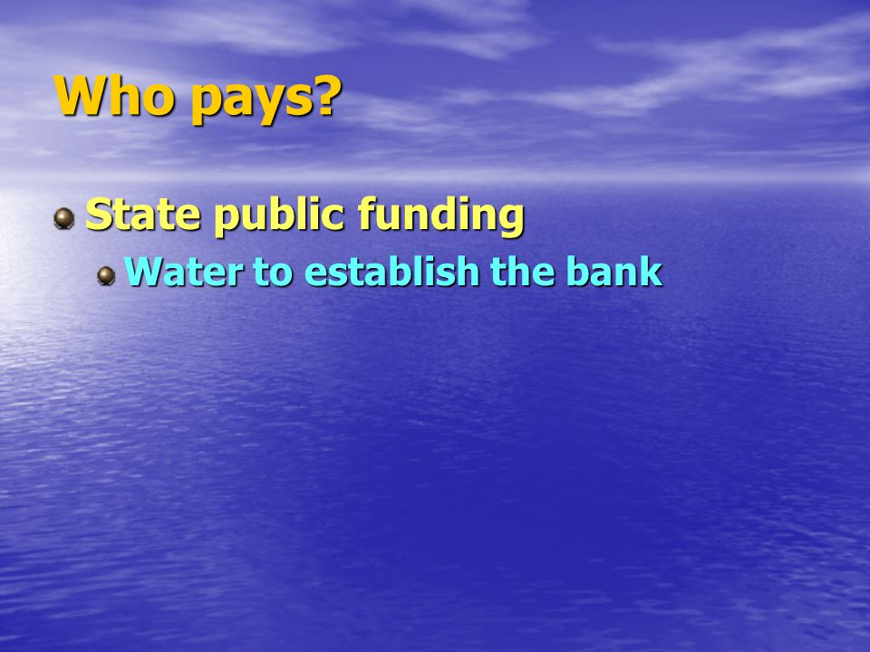 Who pays State public funding Water to establish the bank