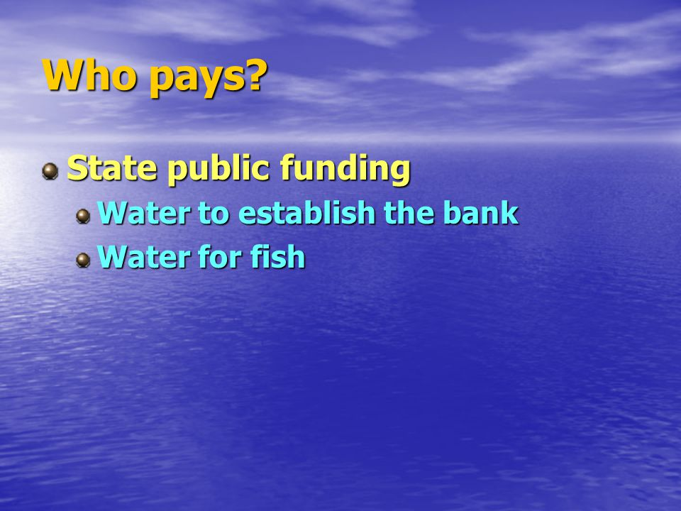 Who pays State public funding Water to establish the bank Water for fish