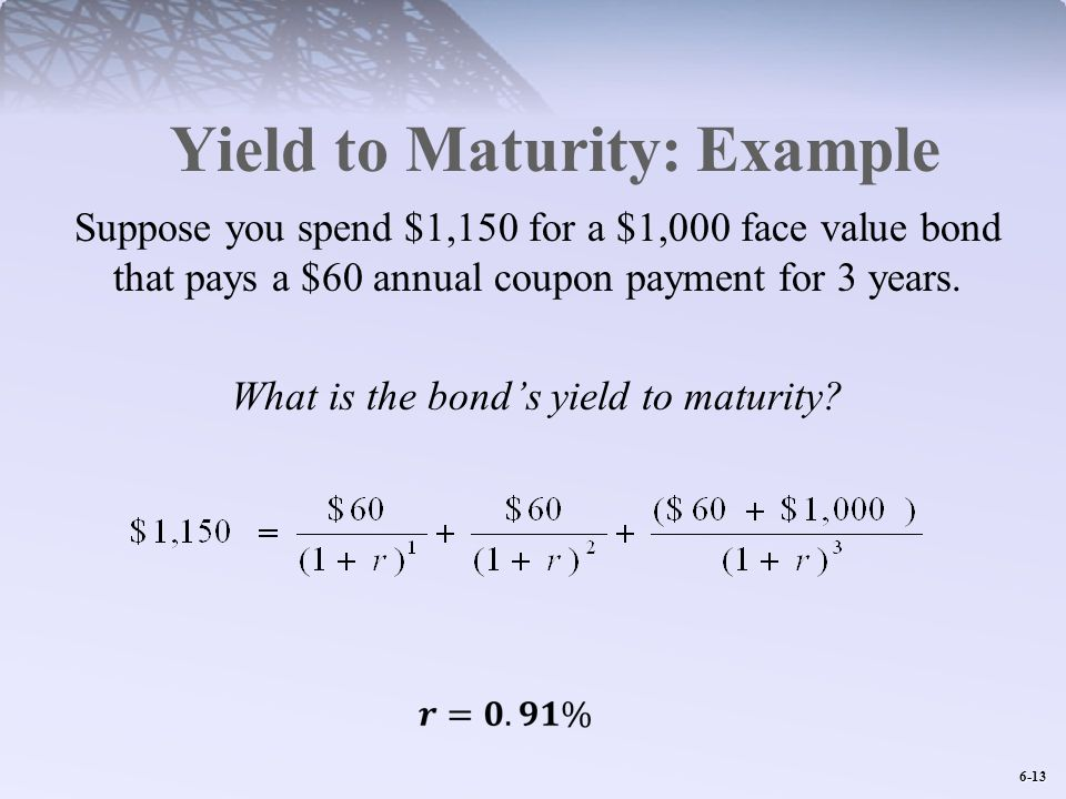 6-13 Yield to Maturity: Example Suppose you spend $1,150 for a $1,000 face value bond that pays a $60 annual coupon payment for 3 years.