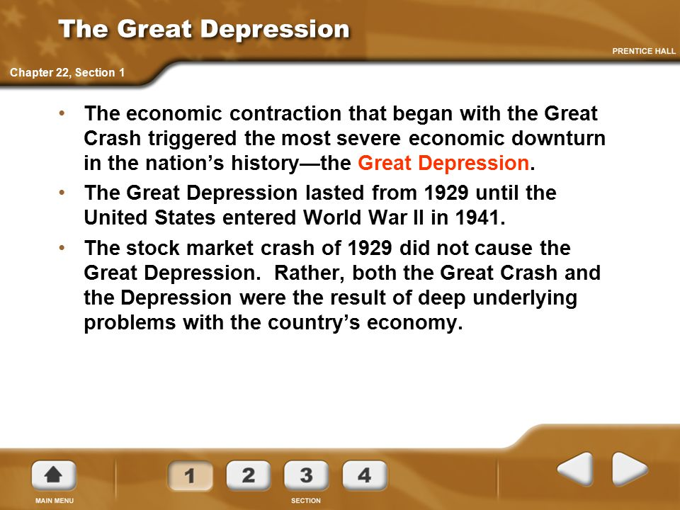 The Great Depression The economic contraction that began with the Great Crash triggered the most severe economic downturn in the nation's history—the Great Depression.