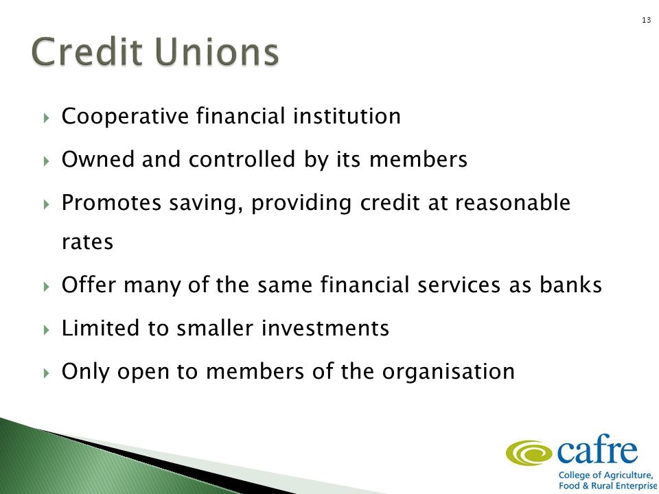  Cooperative financial institution  Owned and controlled by its members  Promotes saving, providing credit at reasonable rates  Offer many of the