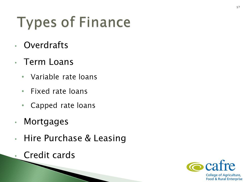 Financing the business Overdrafts Term Loans Variable rate loans Fixed rate loans Capped rate loans Mortgages Hire Purchase & Leasing Credit cards 17