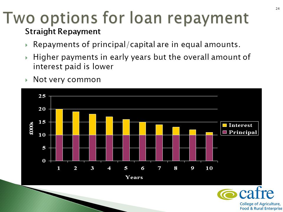 Straight Repayment  Repayments of principal/capital are in equal amounts.  Higher payments in early years but the overall amount of interest paid is