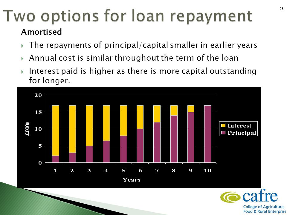 Amortised  The repayments of principal/capital smaller in earlier years  Annual cost is similar throughout the term of the loan  Interest paid is h