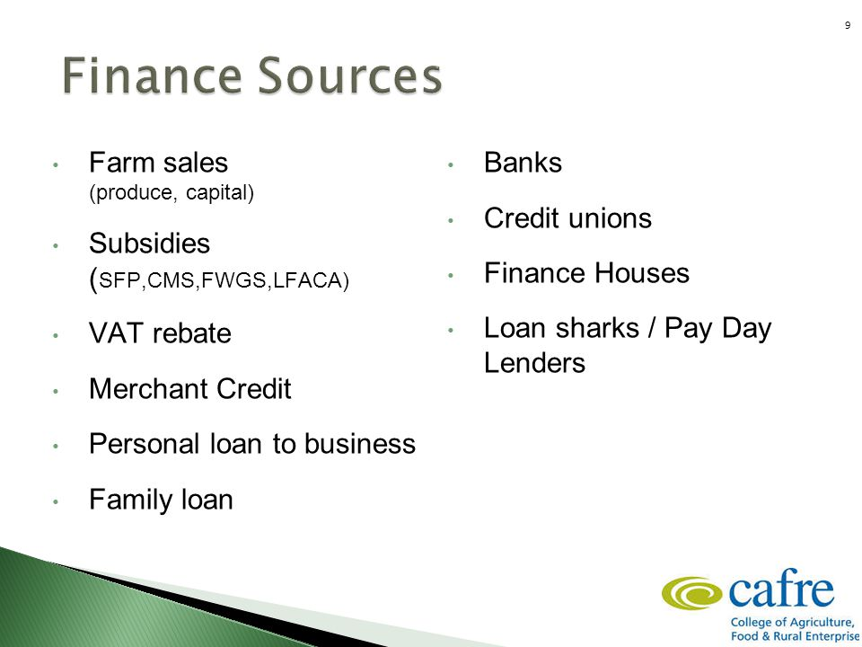 Financing the business Farm sales (produce, capital) Subsidies ( SFP,CMS,FWGS,LFACA) VAT rebate Merchant Credit Personal loan to business Family loan