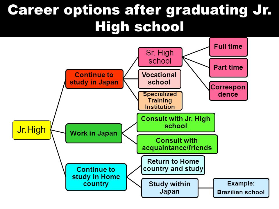 Career options after graduating Jr. High school Jr.High Continue to study in Japan Sr.