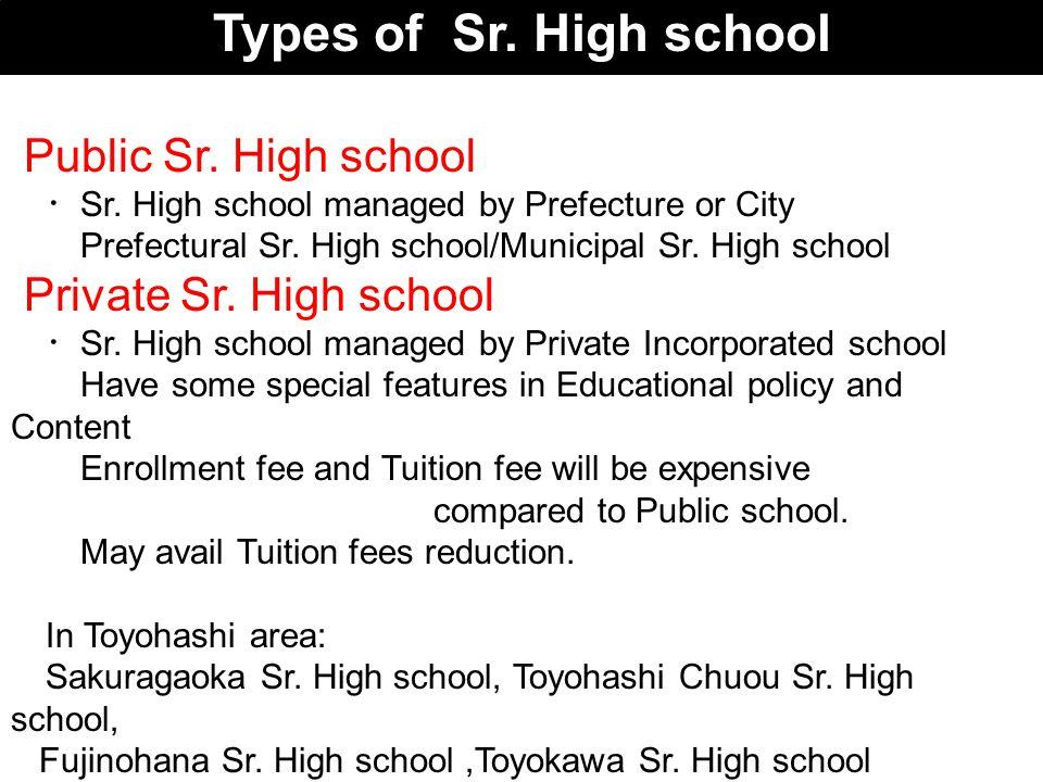 Types of Sr. High school Public Sr. High school ・ Sr. High school managed by Prefecture or City Prefectural Sr. High school/Municipal Sr. High school