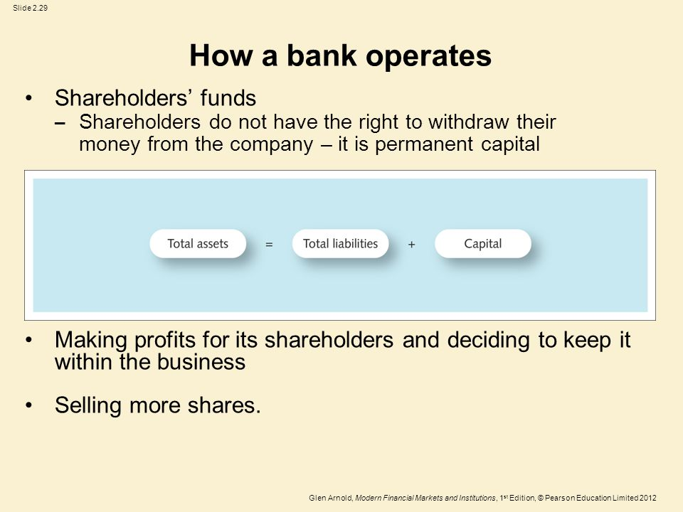 Glen Arnold, Modern Financial Markets and Institutions, 1 st Edition, © Pearson Education Limited 2012 Slide 2.29 How a bank operates Shareholders' funds – Shareholders do not have the right to withdraw their money from the company – it is permanent capital Making profits for its shareholders and deciding to keep it within the business Selling more shares.