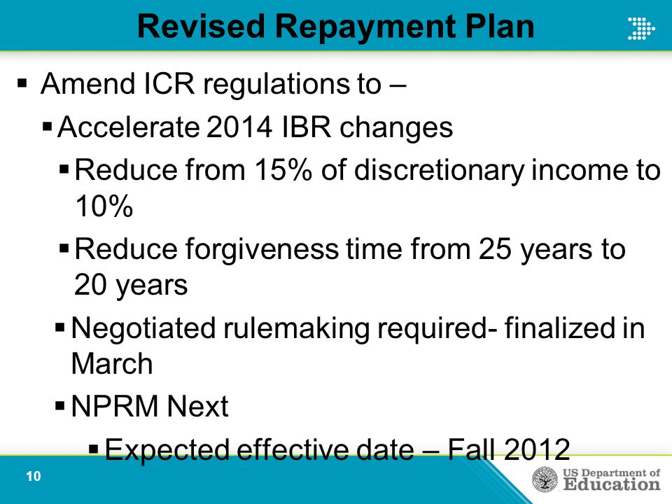 Revised Repayment Plan  Amend ICR regulations to –  Accelerate 2014 IBR changes  Reduce from 15% of discretionary income to 10%  Reduce forgiveness time from 25 years to 20 years  Negotiated rulemaking required- finalized in March  NPRM Next  Expected effective date – Fall 2012 10