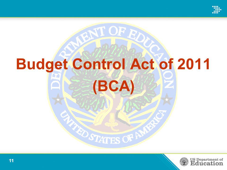 Budget Control Act of 2011 (BCA) 11