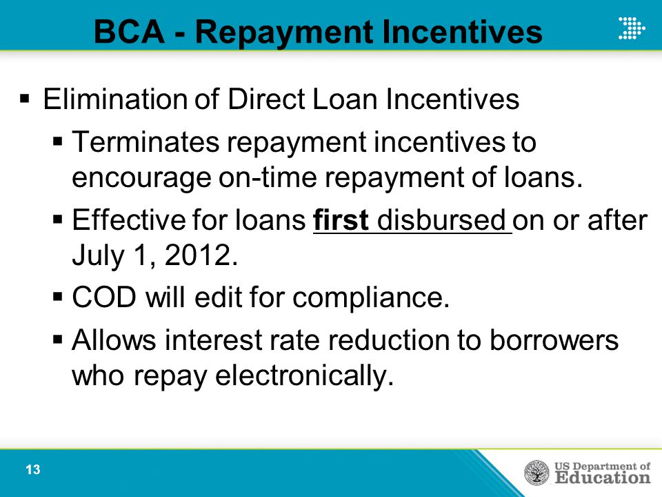BCA - Repayment Incentives  Elimination of Direct Loan Incentives  Terminates repayment incentives to encourage on-time repayment of loans.  Effect