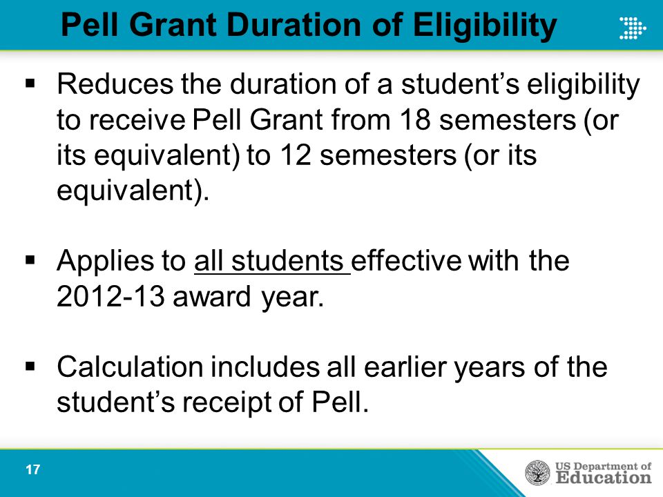 Pell Grant Duration of Eligibility  Reduces the duration of a student's eligibility to receive Pell Grant from 18 semesters (or its equivalent) to 12 semesters (or its equivalent).