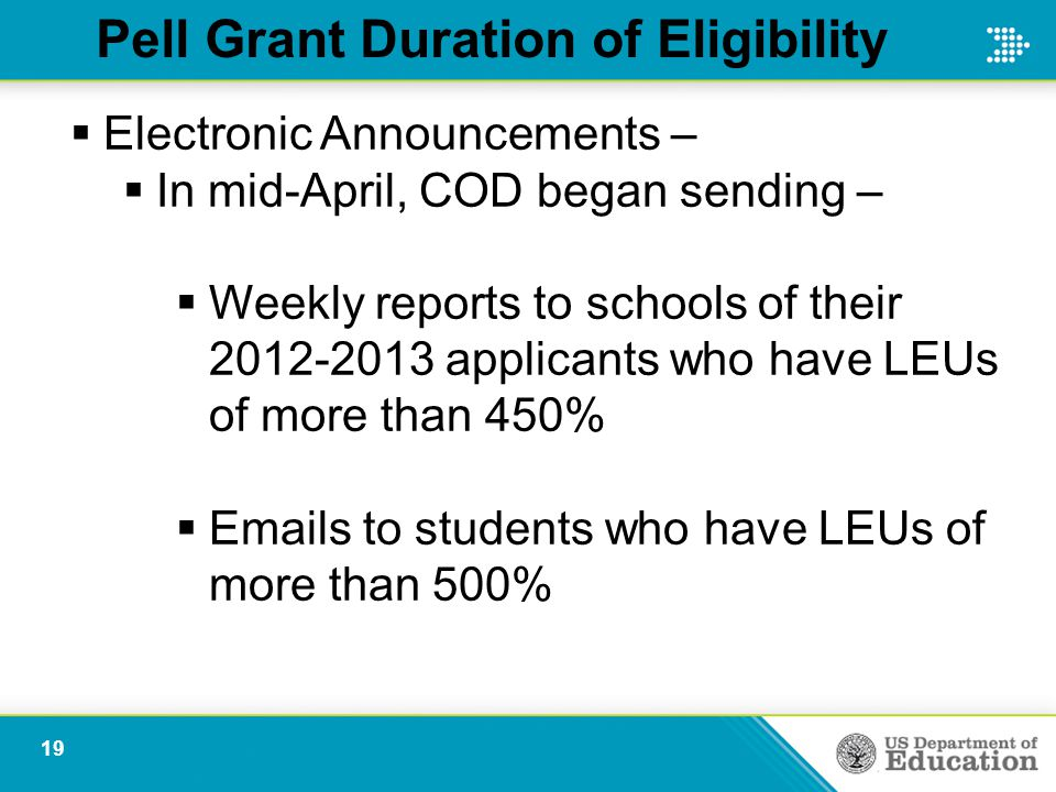 Pell Grant Duration of Eligibility  Electronic Announcements –  In mid-April, COD began sending –  Weekly reports to schools of their 2012-2013 applicants who have LEUs of more than 450%  Emails to students who have LEUs of more than 500% 19