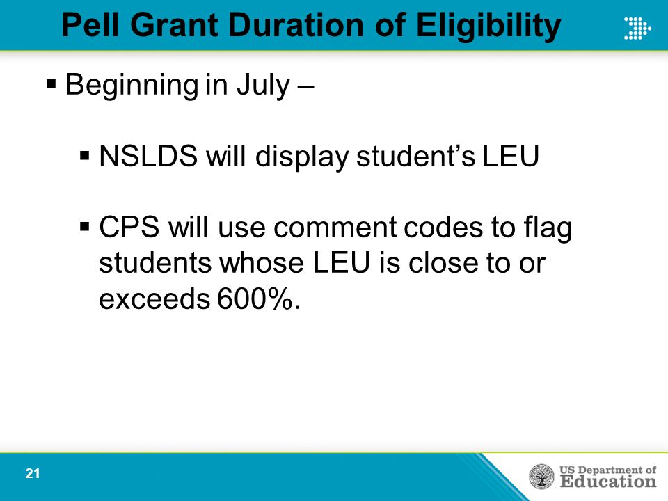 Pell Grant Duration of Eligibility  Beginning in July –  NSLDS will display student's LEU  CPS will use comment codes to flag students whose LEU is close to or exceeds 600%.