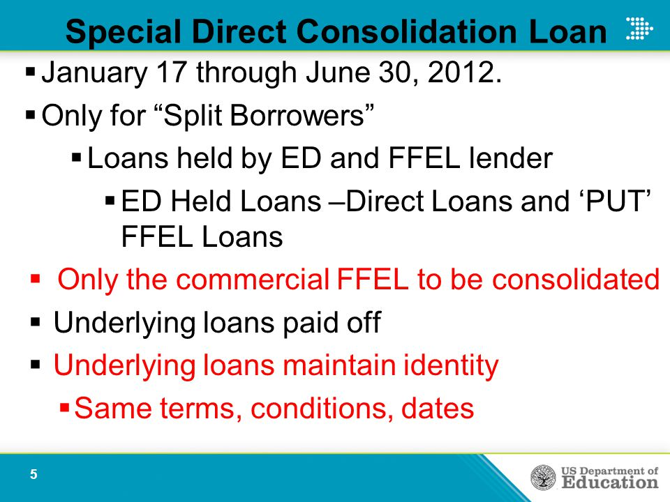 Special Direct Consolidation Loan  January 17 through June 30, 2012.
