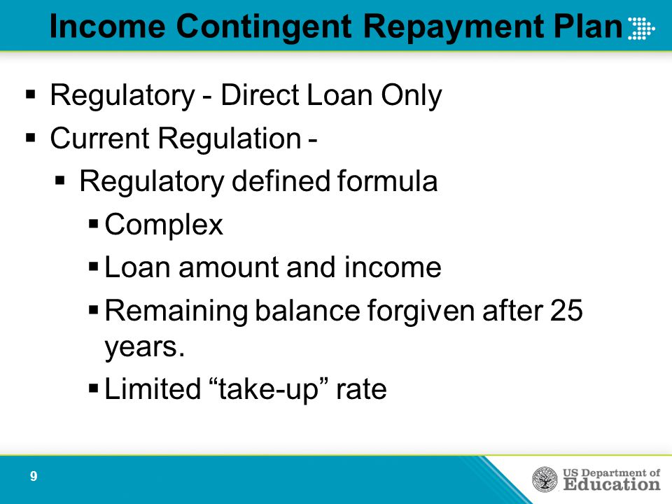 Income Contingent Repayment Plan  Regulatory - Direct Loan Only  Current Regulation -  Regulatory defined formula  Complex  Loan amount and income  Remaining balance forgiven after 25 years.