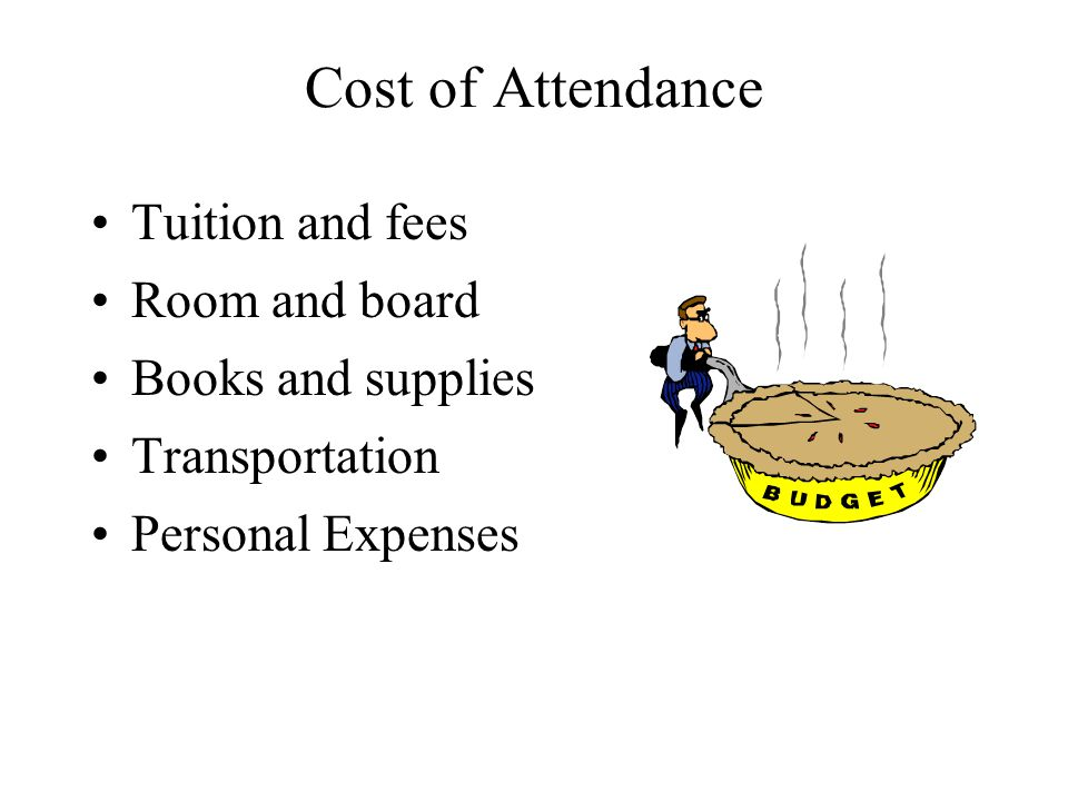 Cost of Attendance Tuition and fees Room and board Books and supplies Transportation Personal Expenses