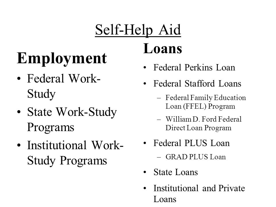 Self-Help Aid Employment Federal Work- Study State Work-Study Programs Institutional Work- Study Programs Loans Federal Perkins Loan Federal Stafford Loans –Federal Family Education Loan (FFEL) Program –William D.