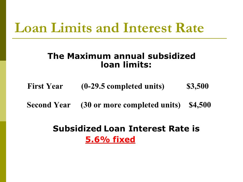 Loan Limits and Interest Rate The Maximum annual subsidized loan limits: First Year (0-29.5 completed units) $3,500 Second Year (30 or more completed units) $4,500 Subsidized Loan Interest Rate is 5.6% fixed