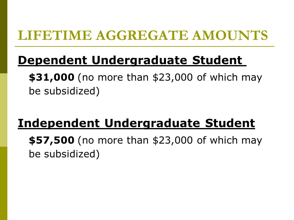 LIFETIME AGGREGATE AMOUNTS Dependent Undergraduate Student $31,000 (no more than $23,000 of which may be subsidized) Independent Undergraduate Student $57,500 (no more than $23,000 of which may be subsidized)
