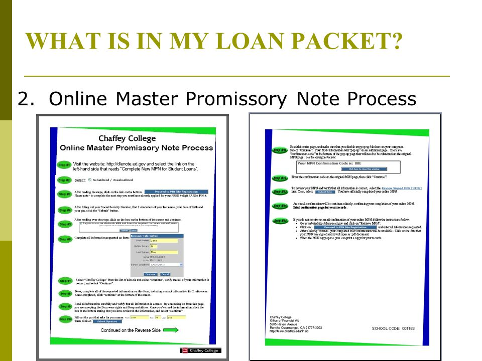 WHAT IS IN MY LOAN PACKET? 2. Online Master Promissory Note Process