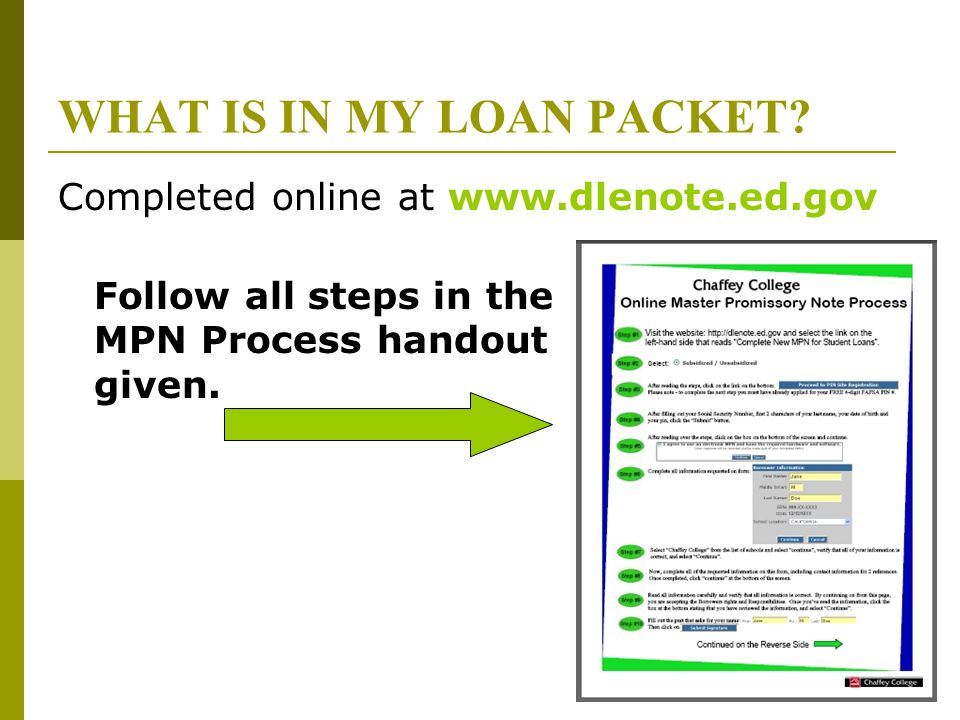 WHAT IS IN MY LOAN PACKET? Completed online at www.dlenote.ed.gov Follow all steps in the MPN Process handout given.