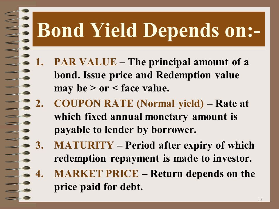 12 BOND YEILD Percentage rate of return on the amount invested.