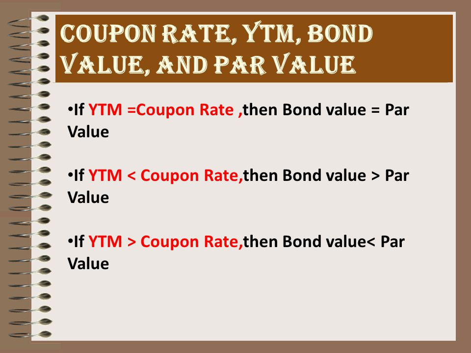 MALKIEL'S PROPERTIES REQUIRED RATE OF RETURN (YIELD TO MATURITY) As interest rate changes, the bond value also changes.