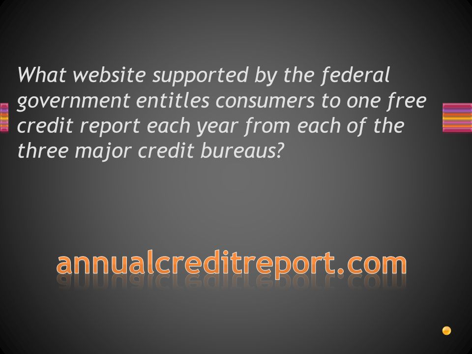 What website supported by the federal government entitles consumers to one free credit report each year from each of the three major credit bureaus?
