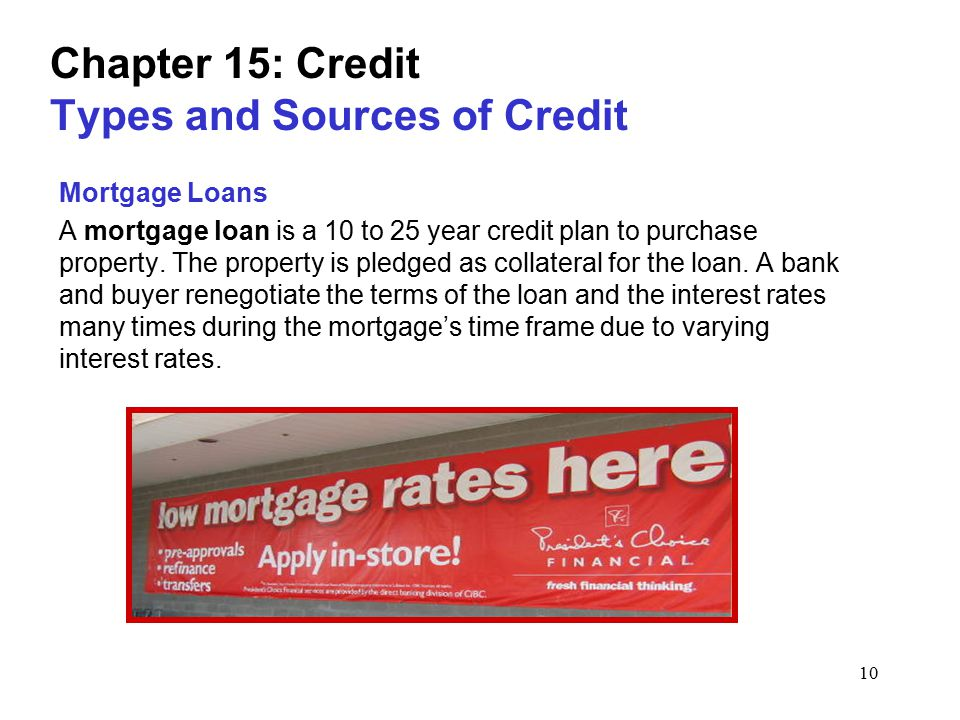 10 Chapter 15: Credit Types and Sources of Credit Mortgage Loans A mortgage loan is a 10 to 25 year credit plan to purchase property.